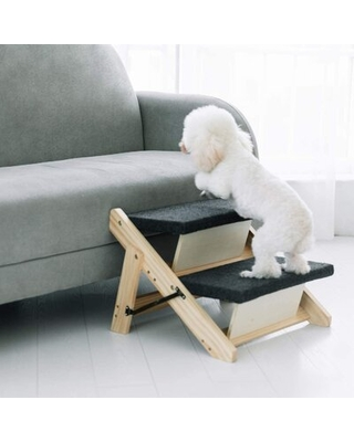 Wood Pet Stairs Pet Steps 2 In 1 Foldable Dog Stairs & Ramp - tucker murphy pet