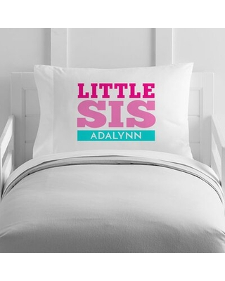 Personalized Little Sister Toddler Pillow Case - 4 wooden shoes