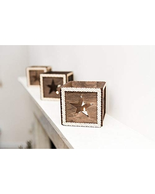Handmade Wooden Star Shaped Candle Holder inches - promi design