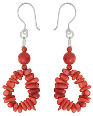 Sterling Coral Bamboo Bead Earrings - qvc