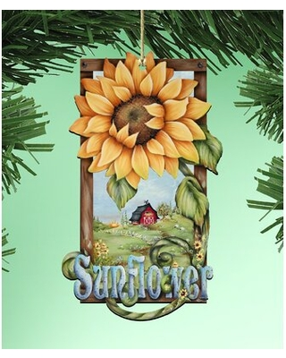 Tidaholm Sunflower Wooden Hanging Figurine Ornament - the holiday aisle