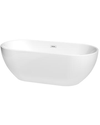 Brooklyn Collection WCOBT200067SWTRIM Freestanding Bathtub with Shiny Drain and Overflow - wyndham collection