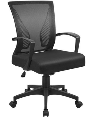 Office Chair Mid Back Swivel Lumbar Support Computer Ergonomic Mesh Chair with Armrest - furmax