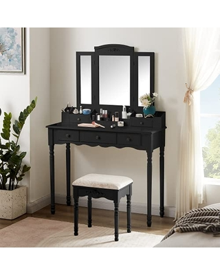 Makeup Vanity Table Set Vanity Set Vanity Desk with Tri Fold Mirror & Cushioned Chair Dressing Table with 5 Drawers 10 Slot Makeup Organizer Storage Shelves for Bedroom - awqm