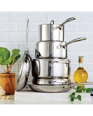Gourmet Tri Ply Clad 10 Piece Stainless Steel Cookware Set - tramontina