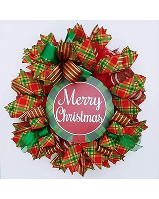 Merry Christmas Wreath Traditional Plaid Christmas Decor and Wreath Christmas Wreath for Front Door Wreath for Mantle Xmas Wreath - great embellishments wreaths & more
