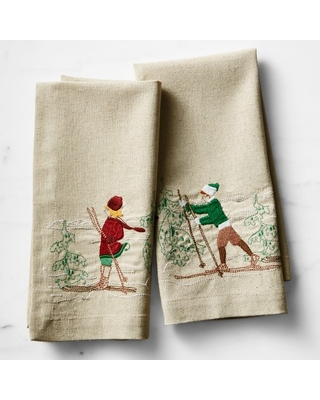 Embroidered Skier Guest Towel - undefined
