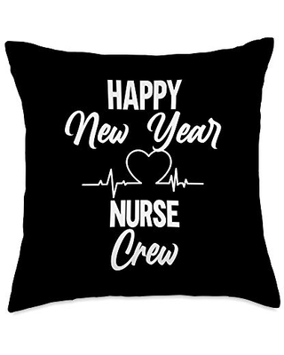 BW New Year Gifts Happy New Year Crew Funny Matching Nursing Throw Pillow, 18x18, Multicolor