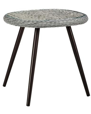 Endeavor Collection EEI 3025 GRY Outdoor Patio Wicker Rattan Side Table with Tempered Glass Top and Powder Coated Aluminum Frame - modway