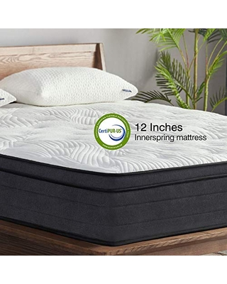 King Mattress in a Box 12 Inch Plush Pillow Top Hybrid Mattress Gel Memory Foam for Sleep Cool Motion Isolating Individually Wrapped Coils King Size Twilight - sweetnight