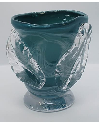 Leaf Vase Turquoise Home Decor Small Vase with two leaves Hand Blown Glass - undefined