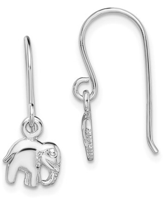 Sterling Silver Rhodium plated Elephant Dangle Earrings - primal silver