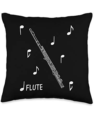 Band Geek Music Designs Music Notes Flute Throw Pillow, 16x16, Multicolor
