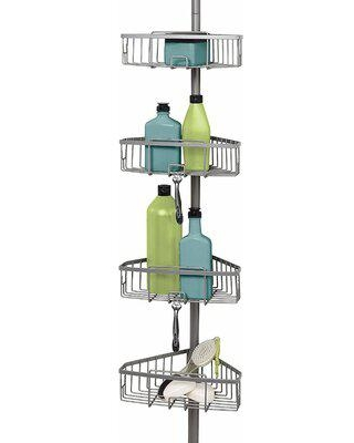 Rebrilliant Satin Nickel Shower Tension Pole Caddy, 4 Baskets in Gray, Size 108.0 H x 10.9 W x 9.0 D in | Wayfair 8AFB46C55BB94D3AA38AB036DB891D46