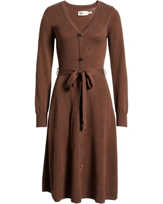 Eliza J Long Sleeve Sweater Dress, Size X-Small in Brown at Nordstrom