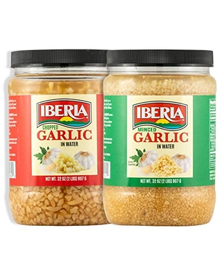 Minced & Chopped Combo Pack 1 x Jar of Minced in Water and 1 x Jar of Chopped in Water - iberia