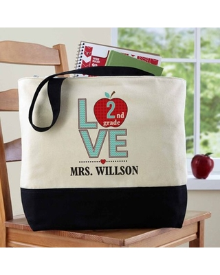 Personalized Love Teacher Tote Bag - online