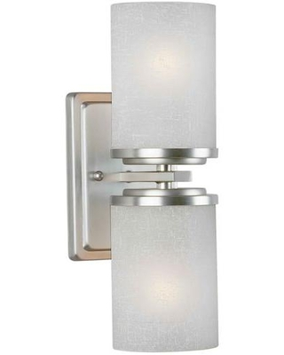 Liam 2 Light Brushed Nickel Sconce with Linen Glass - forte lighting