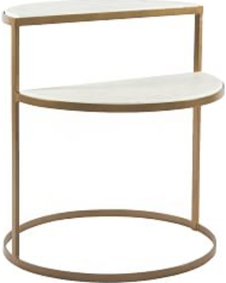 Marla Demilune Marble End Table - undefined