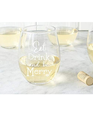Eat Drink and be Merry Wine Christmas gift Secret Santa Gift Snowflake Gift Holiday Host Gift Holiday Dinner Christmas Wine Glass - undefined
