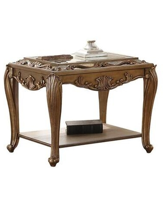 BM186268 Wooden End Table with One shelf and Beveled Edge Mirrored Top Antique - benzara