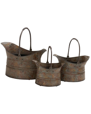 Industrial Galvanized Iron Oval Planters with Arched Handles - olivia & may