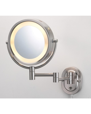 Jerdon 10 in. x 14 in. Lighted Wall Makeup Mirror in Nickel