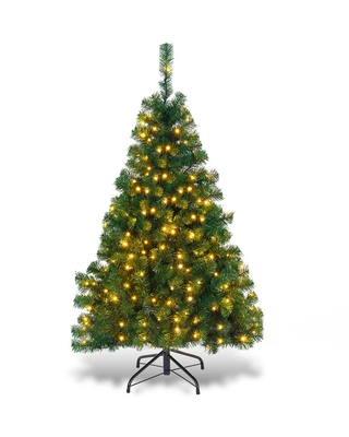 5 ft Pre Lit Artificial Christmas Tree with 200 LED Lights - costway