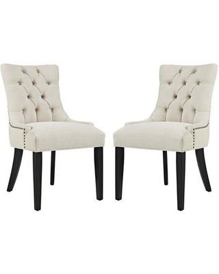 Regent Collection EEI 2743 BEI SET Dining Chairs with Rubberwood Tapered Legs Nailhead Trim Non Marking Foot Caps Solid Wood Frame - modway