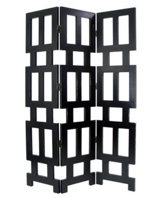 BM213496 Wooden 3 Panel Room Divider with Rectangular Cut Outs - benzara