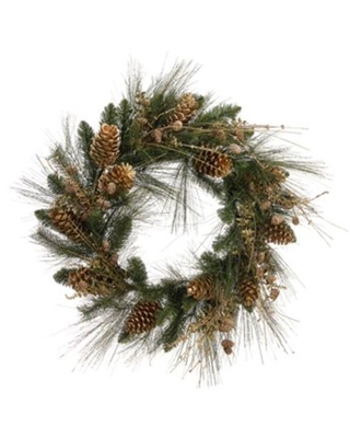 Artificial Glitter Pine Cone and Berry Christmas Wreath - allstate floral