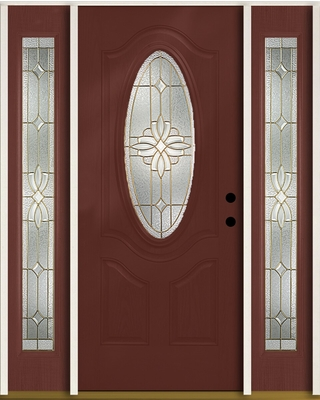 ReliaBilt Laurel 60-in x 80-in Fiberglass Oval Lite Left-Hand Inswing Wineberry Stained Prehung Single Front Door with Sidelights Insulating Core