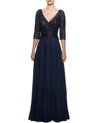 La Femme Chiffon & Sequin A-Line Gown, Size 16 in Navy at Nordstrom