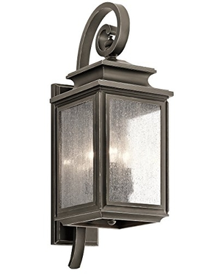 Wiscombe Park 3 Light Outdoor Wall Light with Clear Seeded Glass in Olde Bronze - kichler