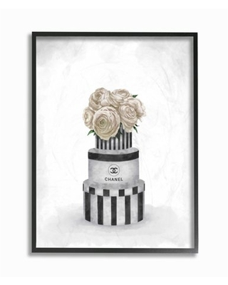 Stupell Industries Fashion Flower Box Stack Neutral Painting Framed Wall Art by Ziwei Li - stupell home d cor