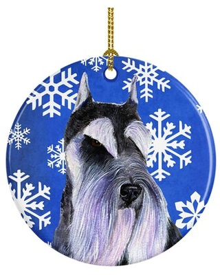 Schnauzer Winter Snowflakes Holiday Christmas Ceramic Hanging Figurine Ornament - the holiday aisle