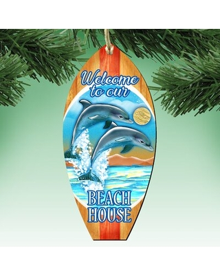 Tidaholm Surfboard Scenic Wooden Holiday Shaped Ornament - the holiday aisle