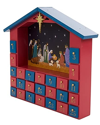 Handcrafted Countdown to Christmas Wooden House Advent Calendar with Drawers - glitzhome