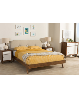 Penelope Mid Century Modern Solid Walnut Wood Fabric Upholstered Queen Size Platform Bed - baxton studio