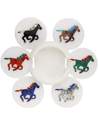 Coasters for Drinks, Multi Color Gemstone Inlay Horse Art - Natural White Makrana Polished Marble, 4 Inch Tile, Set of 6 with Holder, 2.65 LB for Coffee Table Décor
