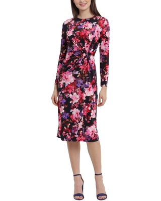 Maggy London Floral Front Twist Long Sleeve Midi Dress, Size 2 in Navy/Rose at Nordstrom