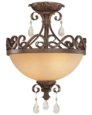 Englewood 25 in French Roast Incandescent Semi flush Mount Light 25622 FR - craftmade