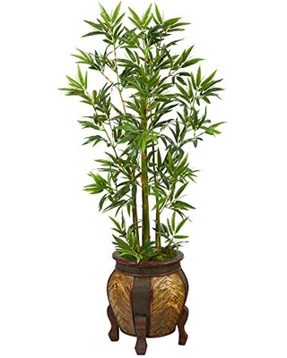5ft Bamboo Palm Artificial Tree in Decorative Planter - nearly natural