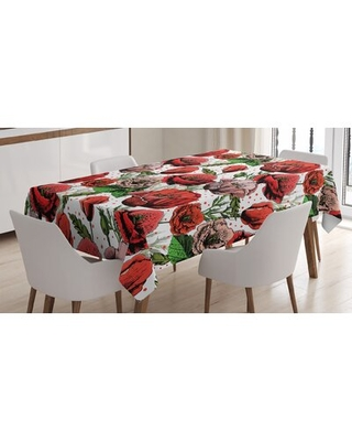 Ambesonne Flower Tablecloth Pattern With Colorful Poppy Flowers Polkadot Background Classic Style Rectangular Table Cover For Dining Room Kitchen De - east urban home