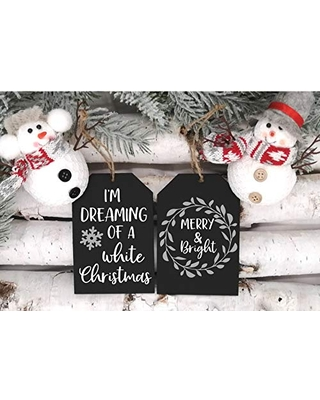 Merry and Bright and I'm Dreaming of a Christmas Ornament 2 Piece Set Farmhouse Wooden Tag Shaped Ornament Holiday Tiered Tray Decor - joyfully made market