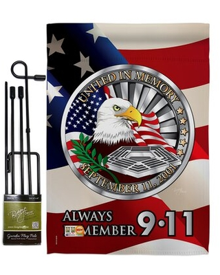 Always Remember Americana Patriotic Impressions 2 Sided Polyester 19 x 13 in Flag Set - breeze decor