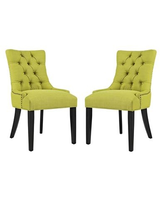 Regent Collection EEI 2743 WHE SET Dining Chairs with Rubberwood Tapered Legs Nailhead Trim Non Marking Foot Caps Solid Wood Frame - modway