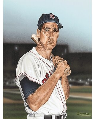Ted Williams Portrait Artwork by Darryl Vlasak Painting Print on Wrapped Canvas - buy art for less