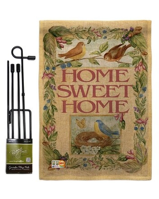 Welcome Birds Spring Time Burlap Inspirational Sweet Home Impressions 2 Sided Polyester Garden Flag Set - breeze decor