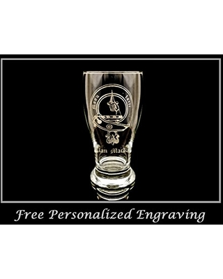Clan MacKay Scottish Crest Pint Glass Free Personalized Engraving Family Crest Pub Glass Beer Glass Custom Beer Glass - lyoncraft
